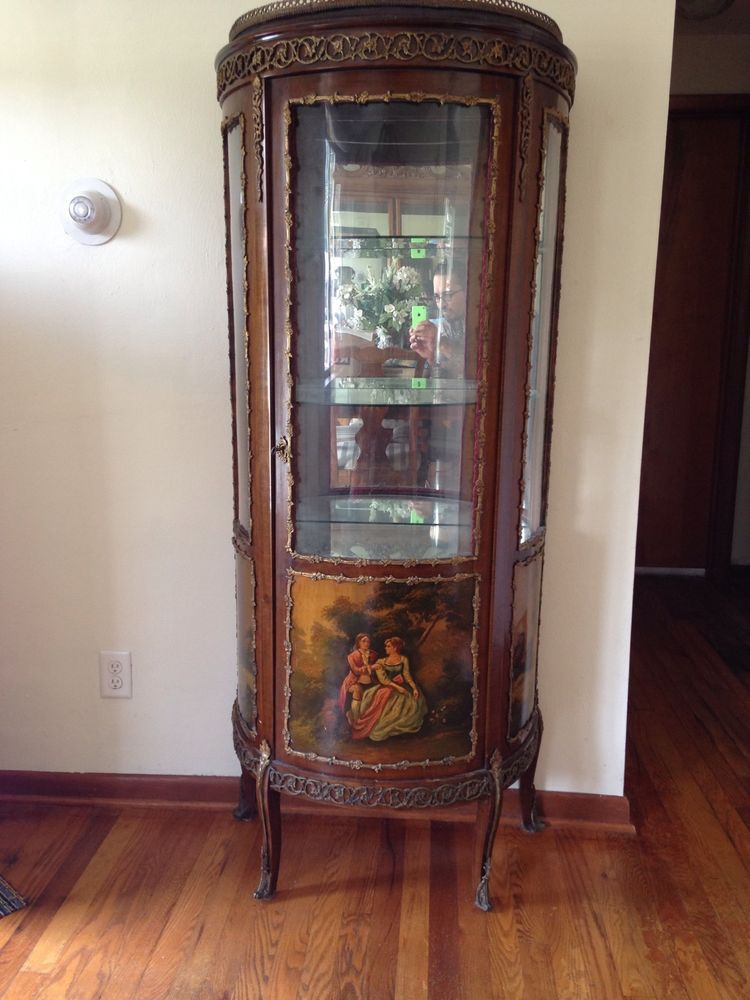 Antique French Curio Cabinet Painted Scenes Frenchfrenchcountry French Antiques French Curio Painting Cabinets