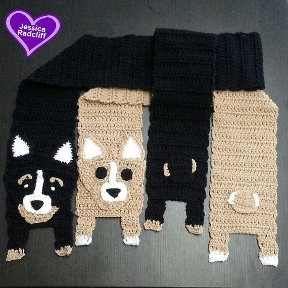 "Adult Size Crochet Corgi Scarf Size: 5.5"" wide and 60"" long (not including legs)  Gentle machine wash/ low dryer heat safe Made in a Smoker Free Environment, and I do have dogs."