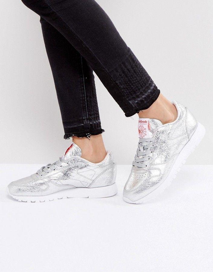 d9855420e45d05 Reebok Classic Leather Hot Dog Metallic Foil Effect Sneakers In Silver