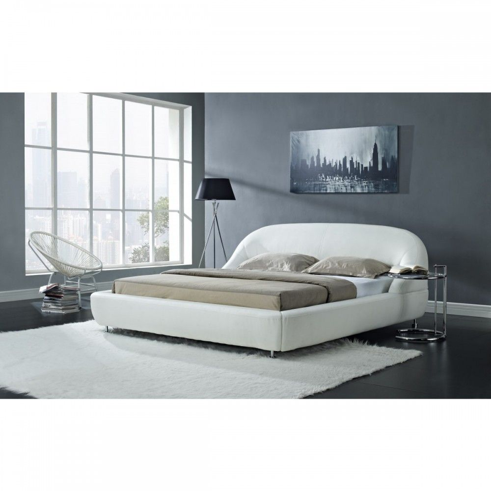 Mia Modern White Eco Leather Bed By Creative Furniture