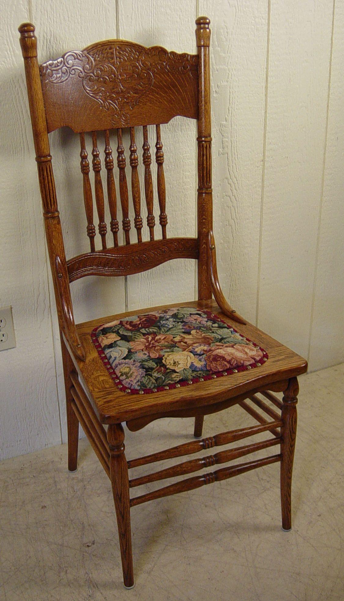 Set of 4 Oak Press back Chairs - Set Of 4 Oak Press Back Chairs Quartersawn Oak Wishlist