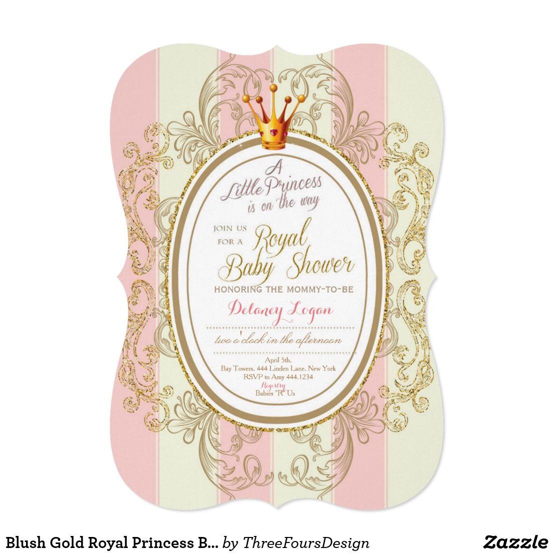 Blush Gold Royal Princess Baby Shower Invitation | Princess baby ...