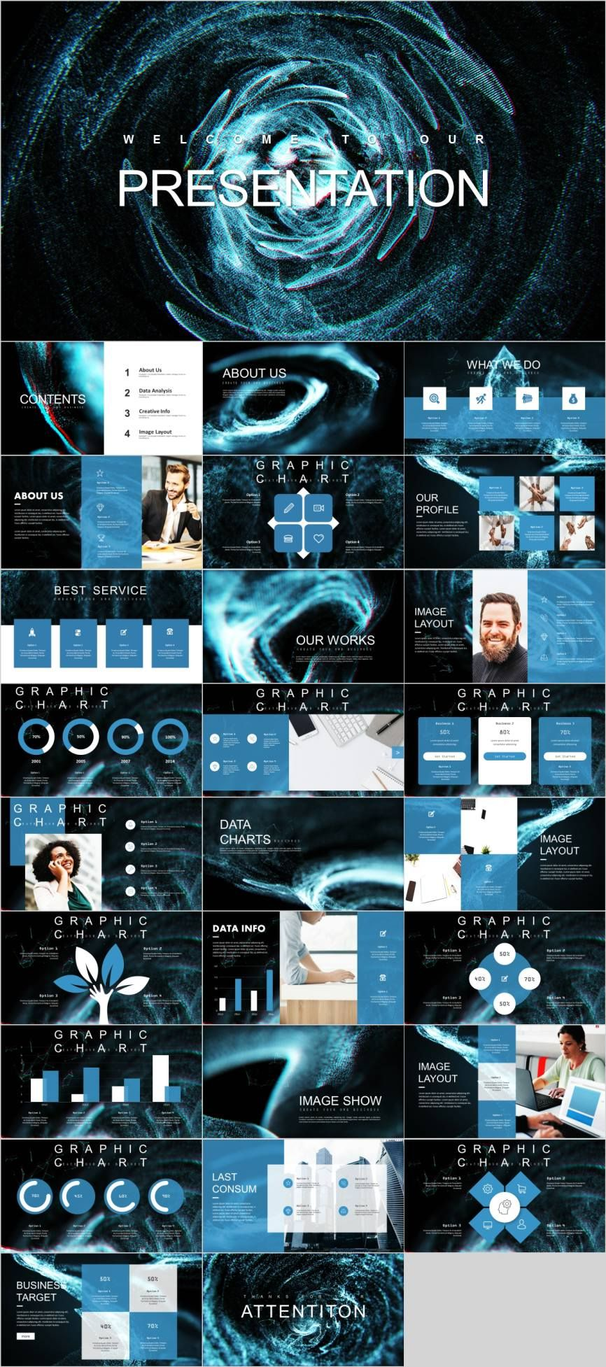 Blue Creative Data Analysis Powerpoint Template Powerpoint