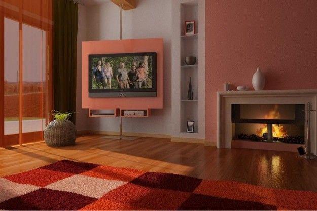 Abbinare due colori in una stanza salotto con pareti for Pittura salone
