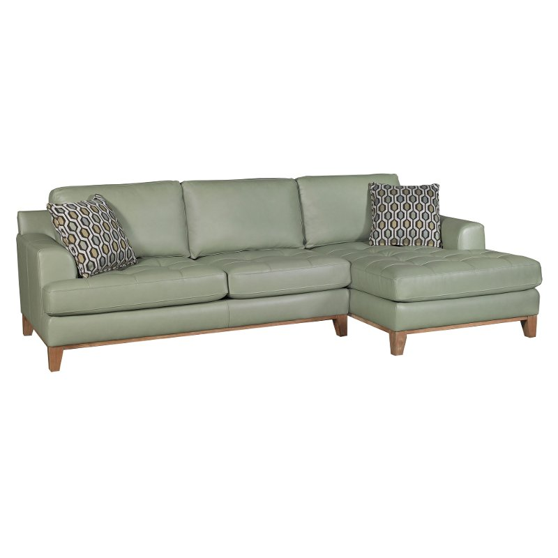 Aqua Green Leather 2 Piece Sectional Sofa With Raf Chaise