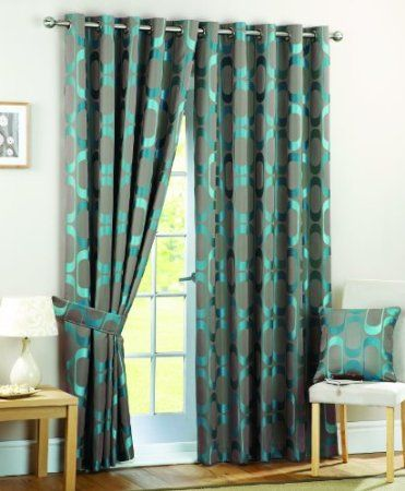 Curtina Osbourne Eyelet Lined Curtains Teal 46x54 Inch Amazonco