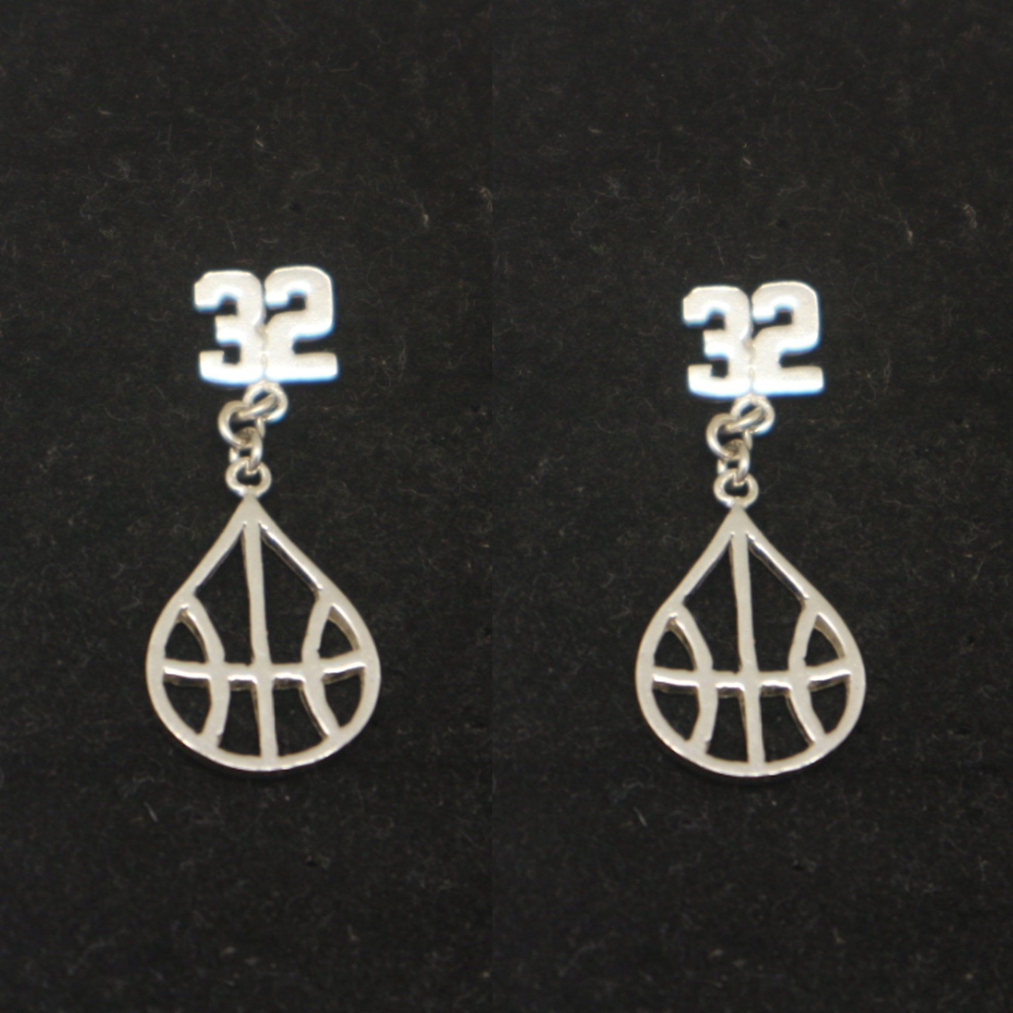 Silver Basketball And Number Stud Earring Ear Jacket Basketball