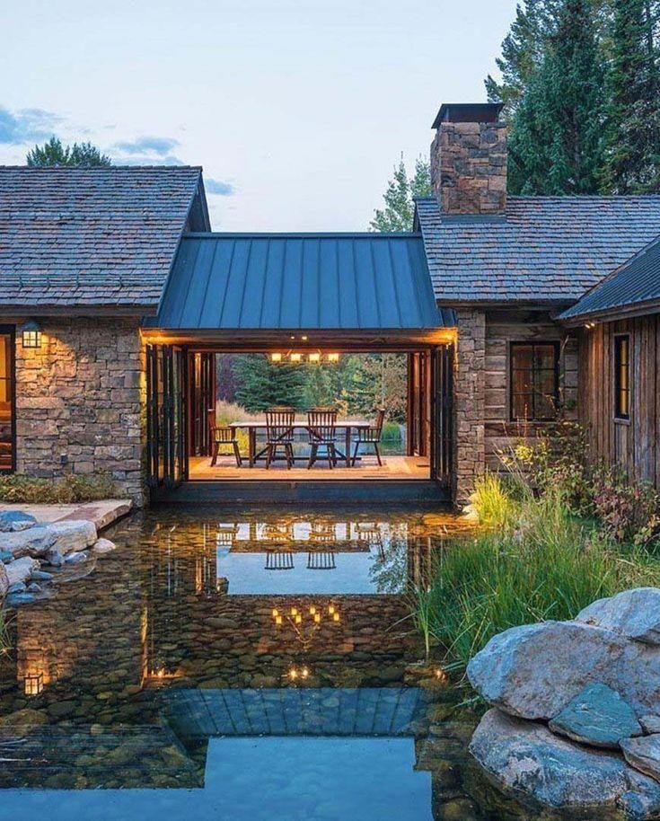 A Wyoming Mountain retreat blends modern living with rustic style #kam ... :    #Wyoming #Mountain #retreat