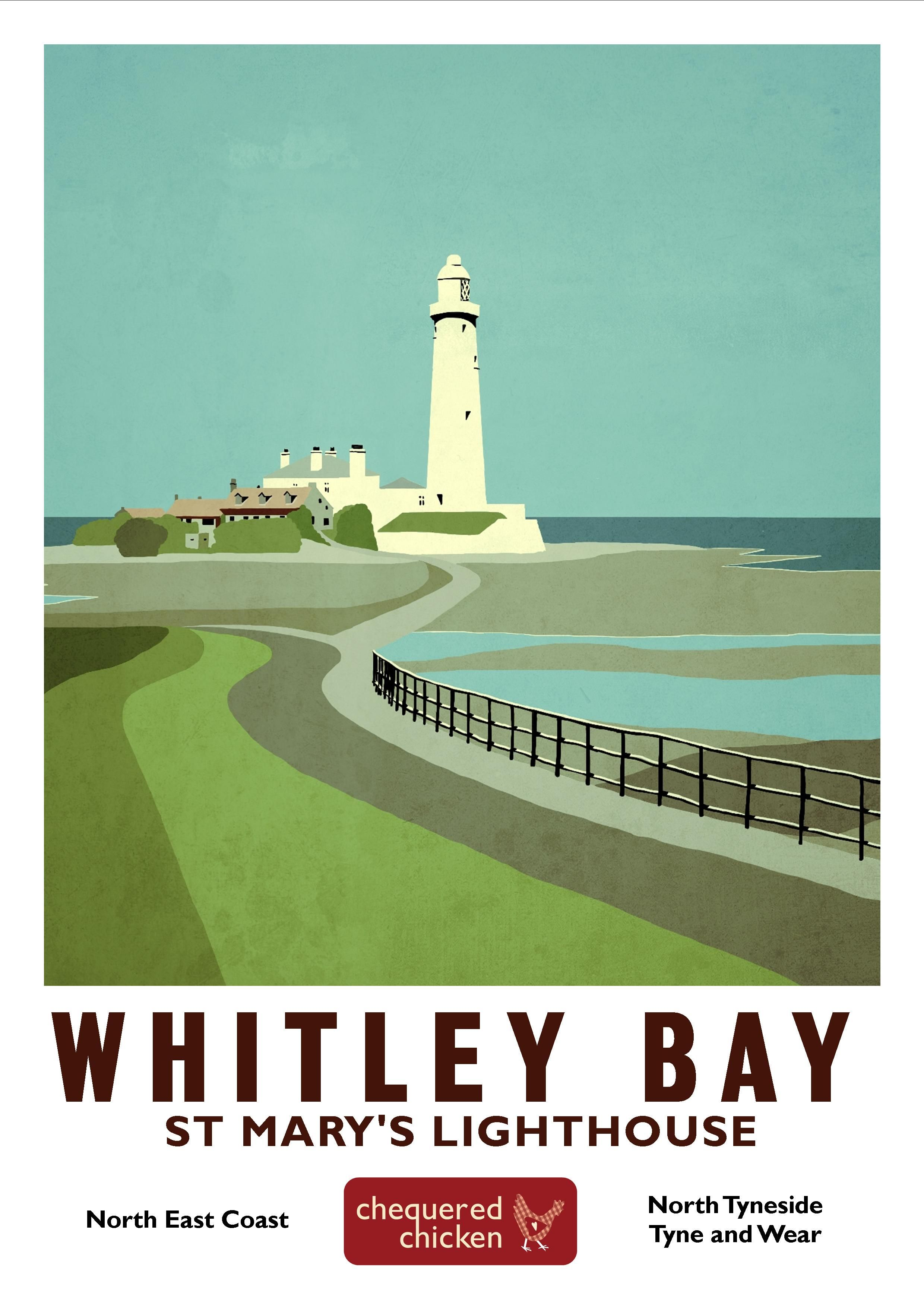 Whitley Bay Print Travel Posters Posters Uk Vintage Travel Posters
