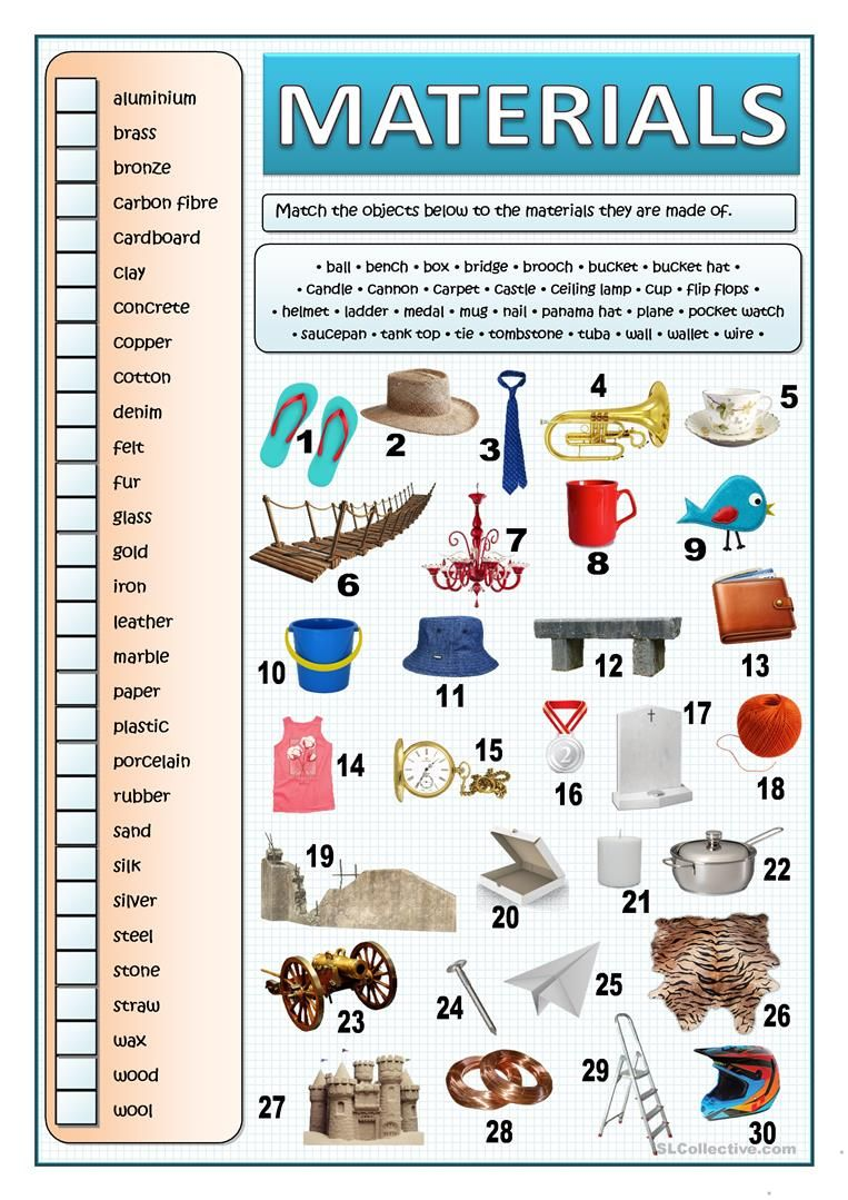 WHAT ARE THINGS MADE OF? - MATERIALS worksheet - Free ESL printable  worksheets made by teachers   Vocabulary pictures [ 1079 x 763 Pixel ]