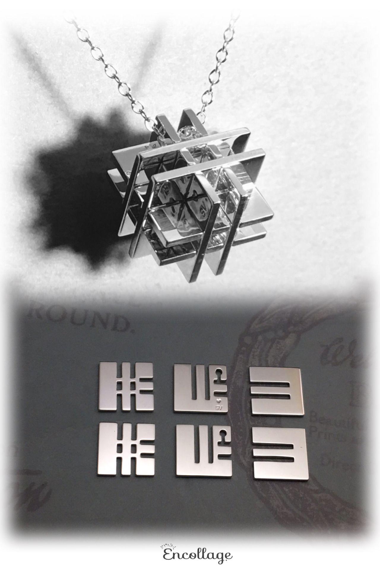 Puzzle W Cube Pendant Silver950 와이어 쥬얼리 쥬얼리 고리
