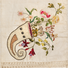 """Dutch embroidery from 1600-1920 was exhibited in """"Au fil des marquoirs: trésors de broderie des pay-bas"""" at the Bibliothequé Forney in Paris, 2013."""