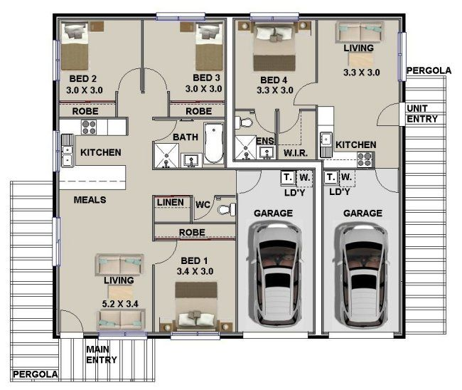 Mirror153 Dual Key Floor Plans Design Duplex Floor Plans Duplex Plans Multigenerational House Plans