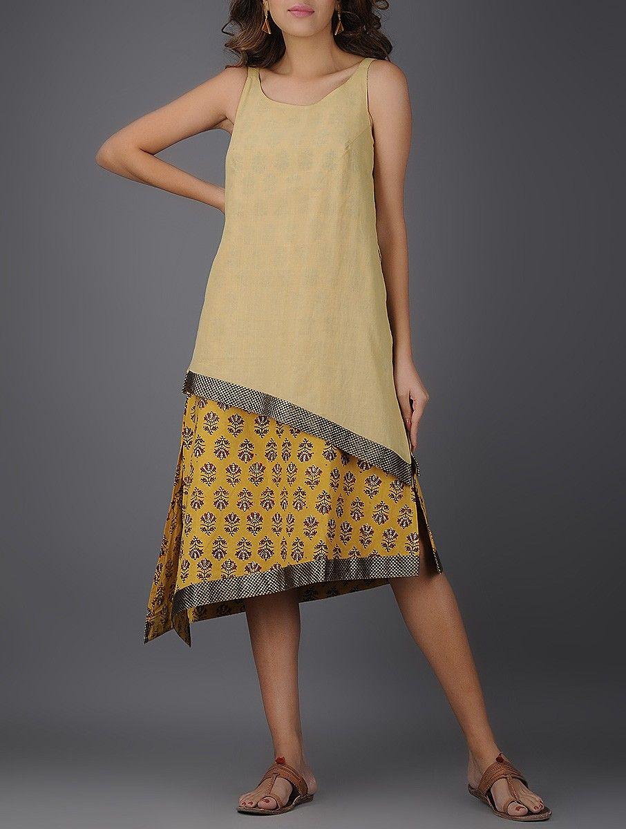 Beige-Mustard Kalamkari-Printed Handwoven Mangalgiri Cotton Layered Dress