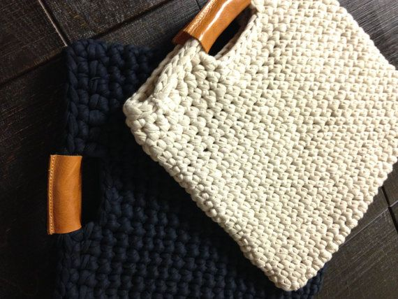 Chunky crochet bag with real leather handles, crochet case, trendy ...