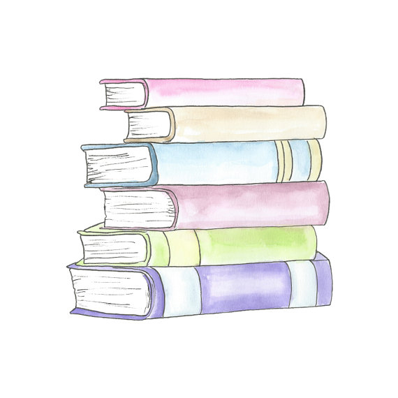Watercolor Stack Of Books Clipart // Planner Clipart