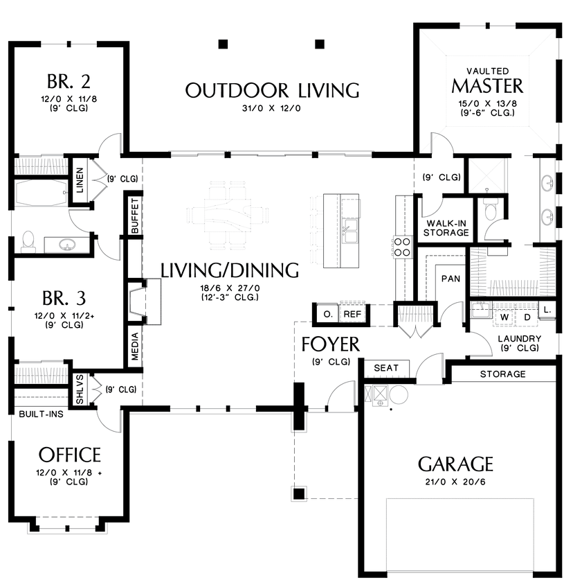 Mascord house plan 1247a outdoor living rooms ranch Outdoor living floor plans