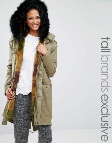Glamorous Tall Faux Fur Lined Parka Jacket – Khaki. Tall Women's ...