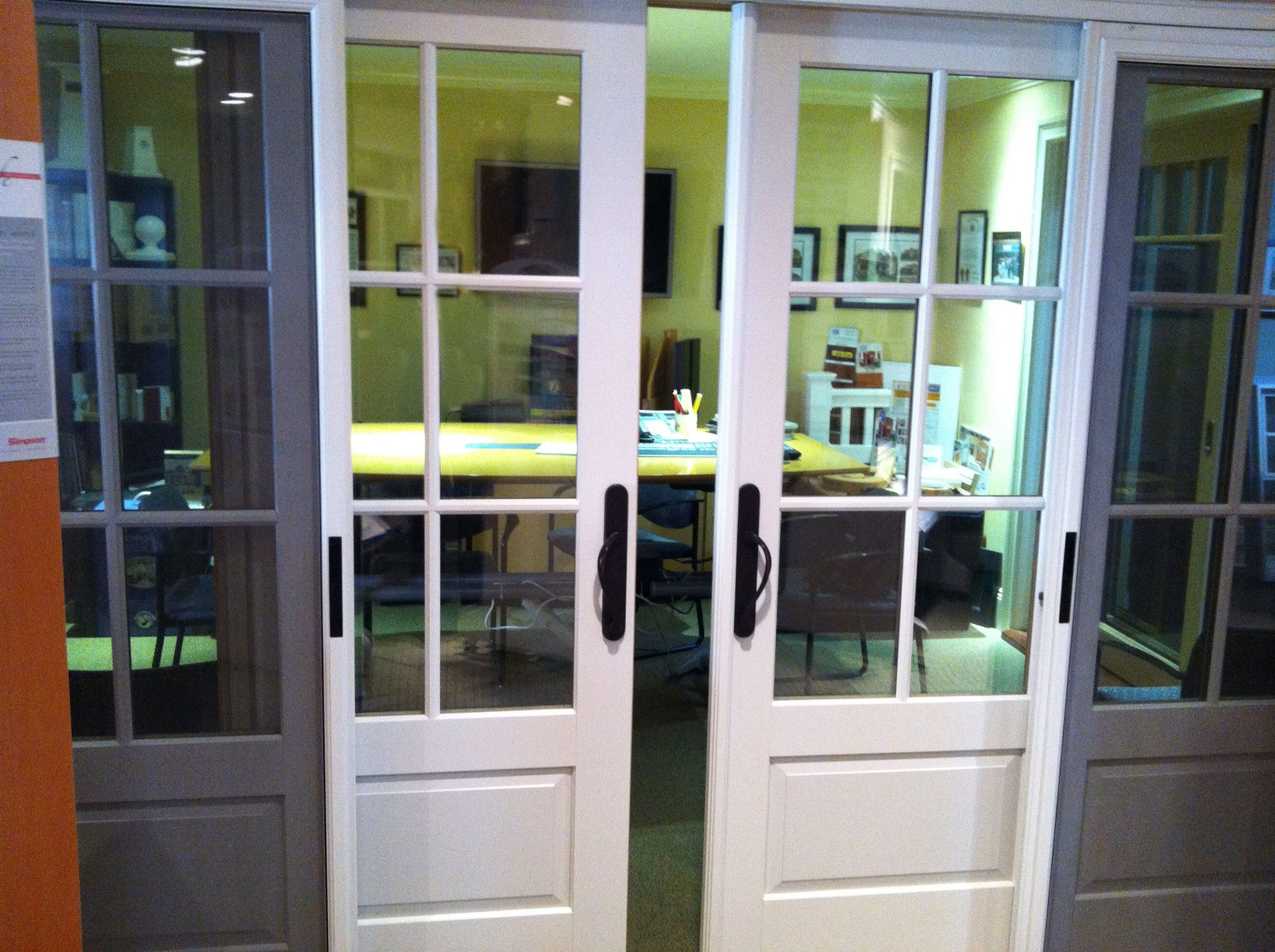 The marvin ultimate bi parting sliding french door in our for Marvin ultimate swinging screen door