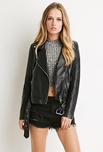 406cc4090 Faux Leather Moto Jacket | Forever 21 - 2000154586 | My Style ...