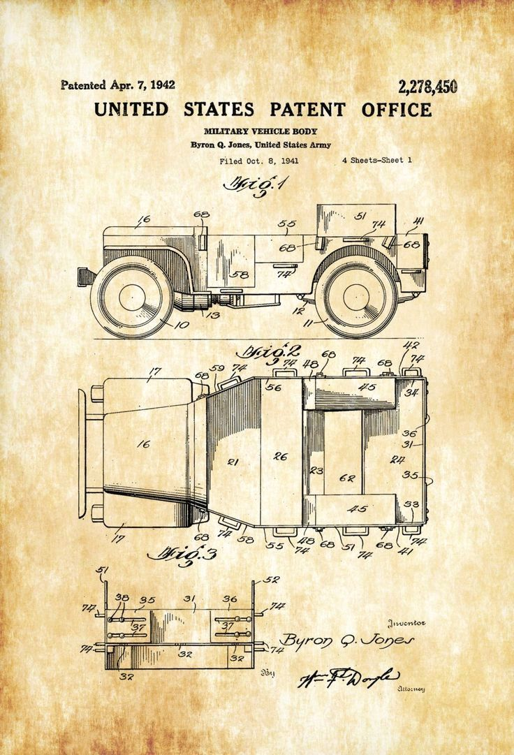 Willys Military Jeep Patent – Patent Print, Wall Decor, Automobile ...