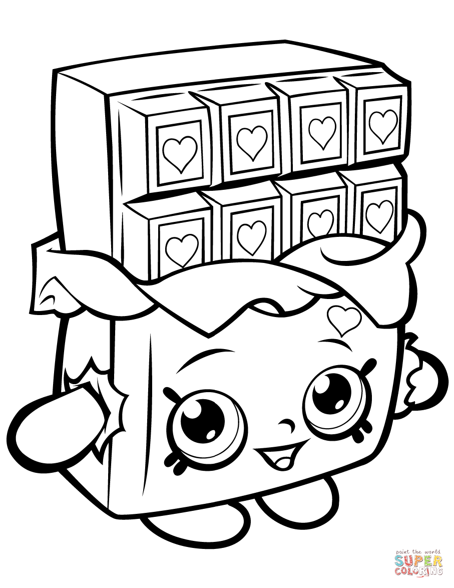 image about Printable Shopkins Coloring Pages titled Chocolate Cheeky Shopkin coloring website page Free of charge Printable