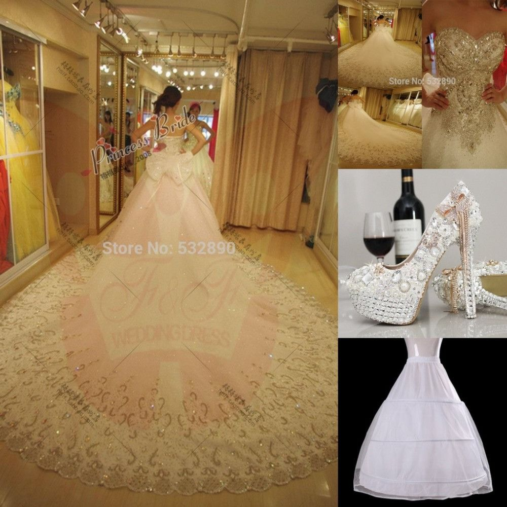 Amazing 2016 Luxuries Bridal Ball Gown Crystal Sequins