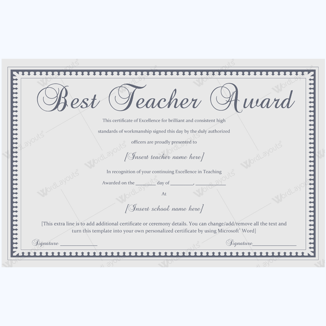 Formal best teacher award certificate template certificate formal best teacher award certificate template certificate teachercertificate bestteacherofthemonth yadclub Gallery