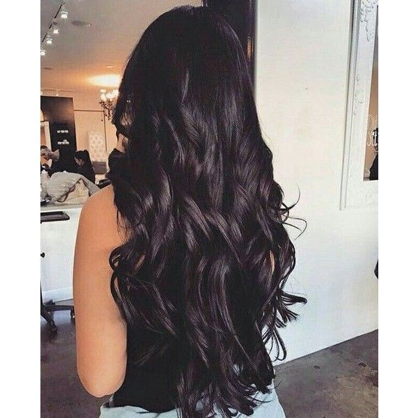 Long jet black wavy hair ❤ liked on Polyvore featuring hair