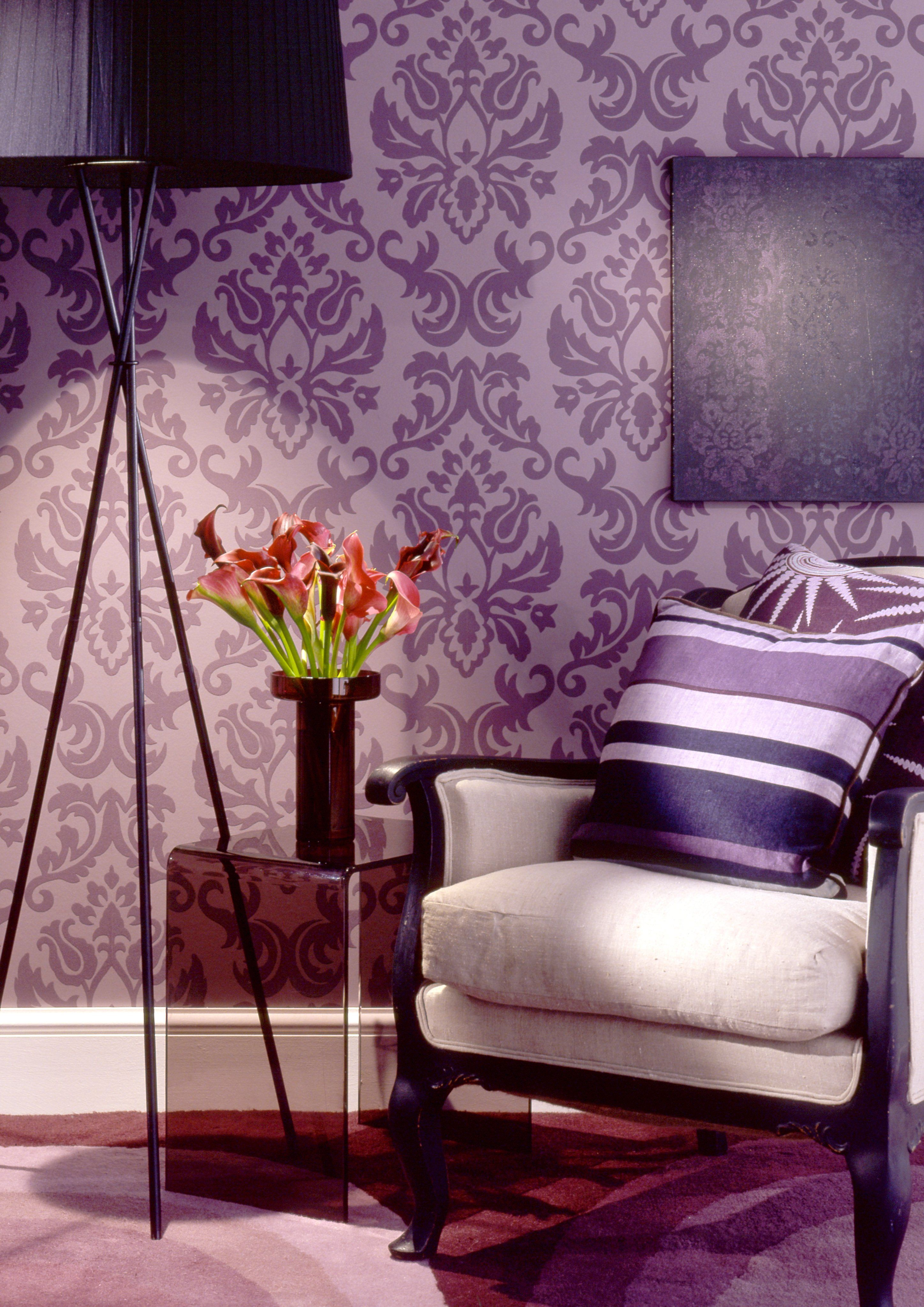 Damask Wall For The Bakery One Wall I Love This Purple