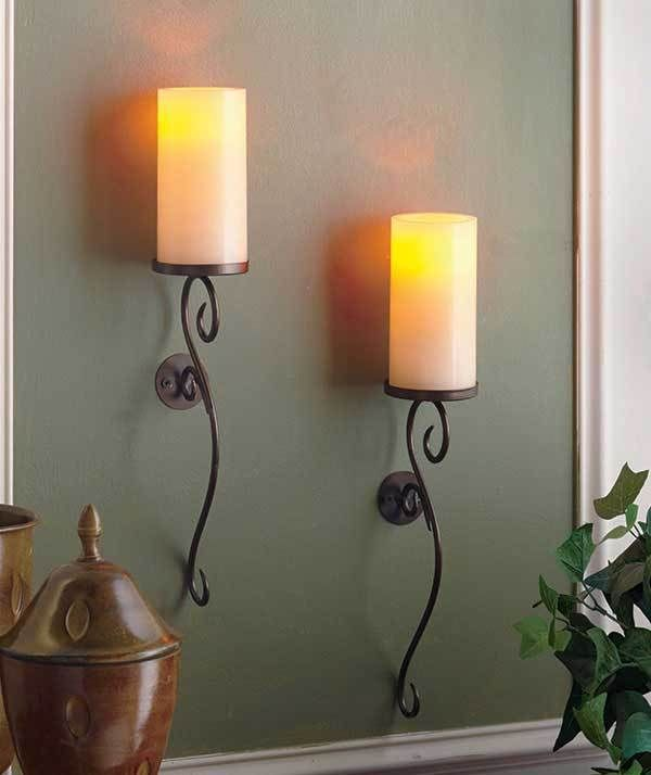 Set Of 2 Ivory Led Flameless Candle Wall Sconces Living