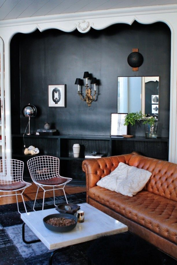 Moody Black Walls With Mixed Modern And Traditional Furniture