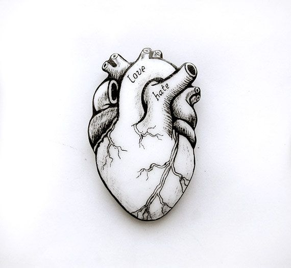 Alternative Valentine's Heart Brooch by AbraKadabraJewelry on Etsy