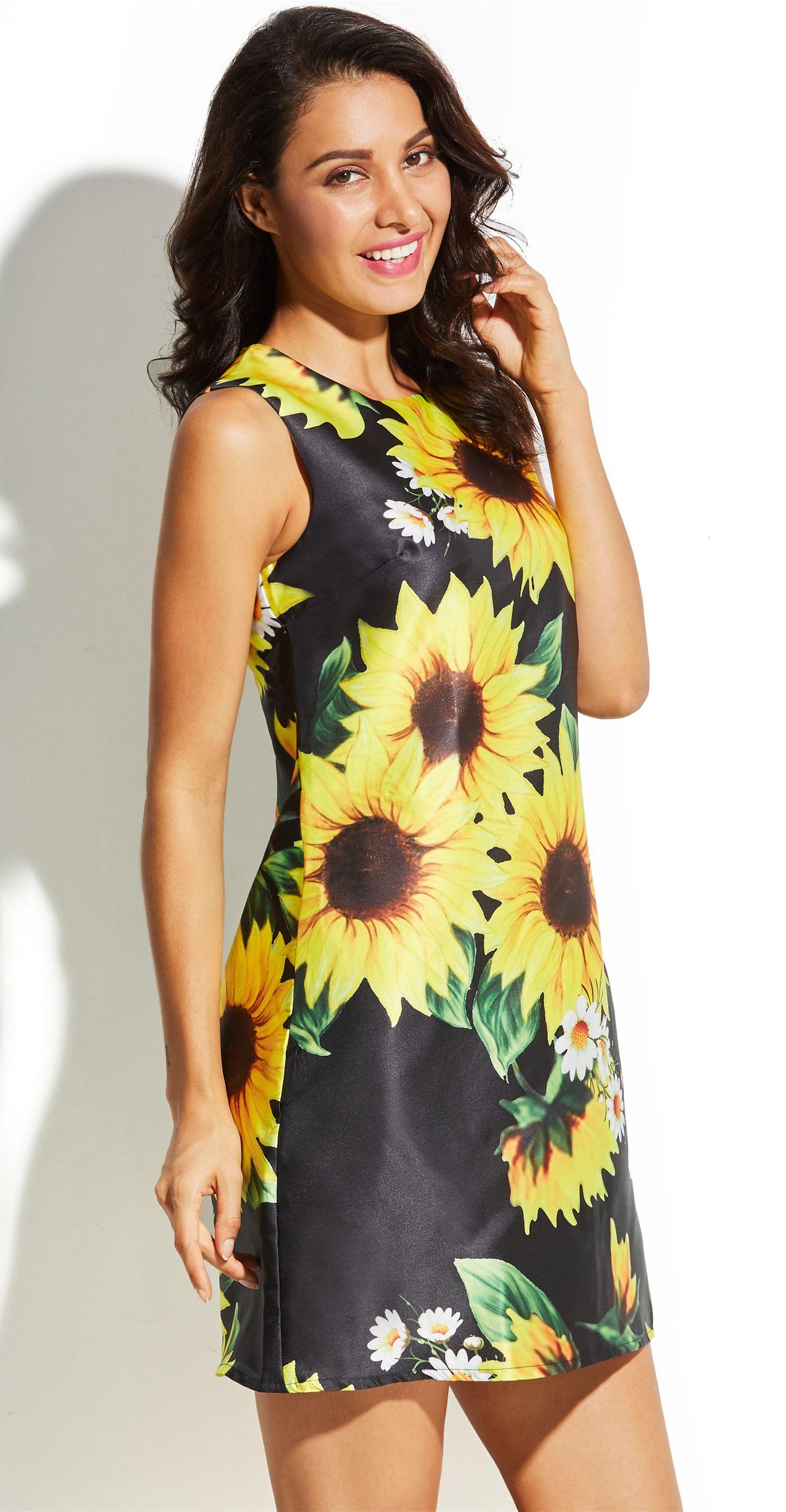 f5bbfad397b9 Sunflower Print Sleeveless Women's A-Line Dress | Dresses | Women's ...