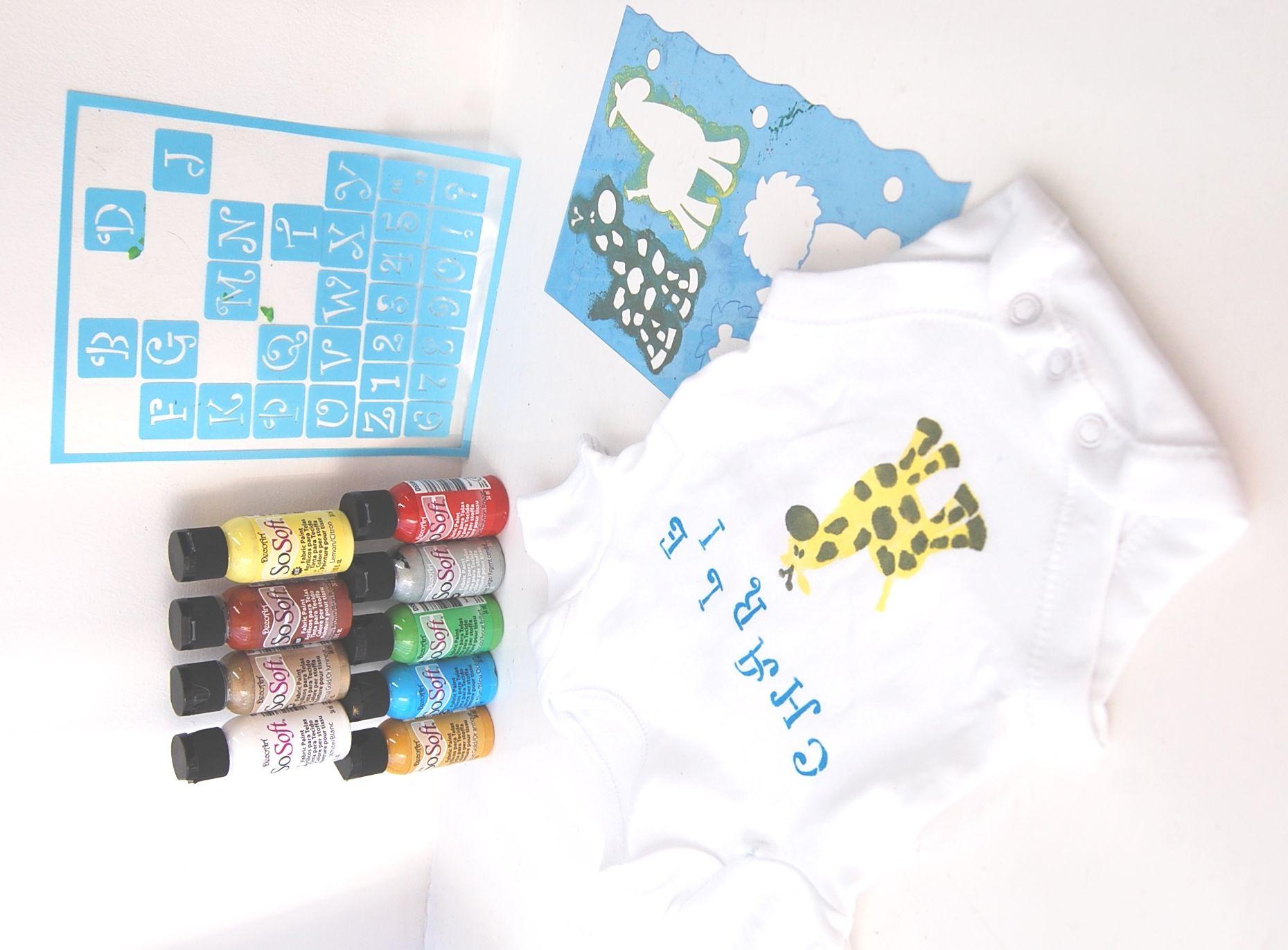 Stencil On Cotton Material Baby Onsie Using Fabric Paints By Decoart Sosoft Alphabet Stencils Stencil Diy Stencil Crafts