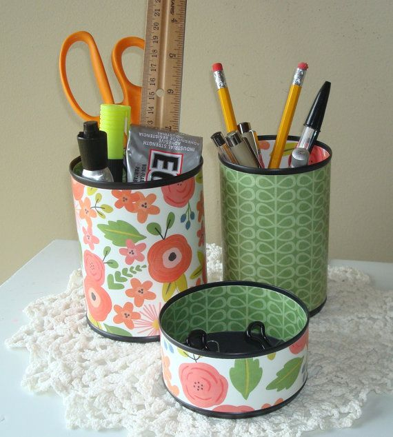 coral and green whimsical floral desk accessories pencil holder
