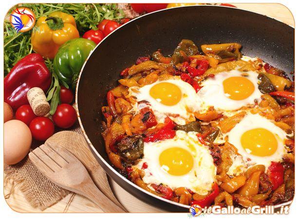 Peperoni con Uova ad occhio di bue #cucina #ricette #italia