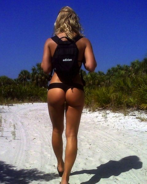 shapely beach bums and a backpack