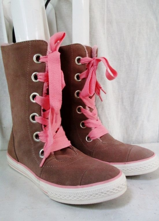 NEW Juniors CONVERSE ALL STAR Suede Hi-Top Sneaker Trainer Athletic Shoe Boot BEIGE PINK5
