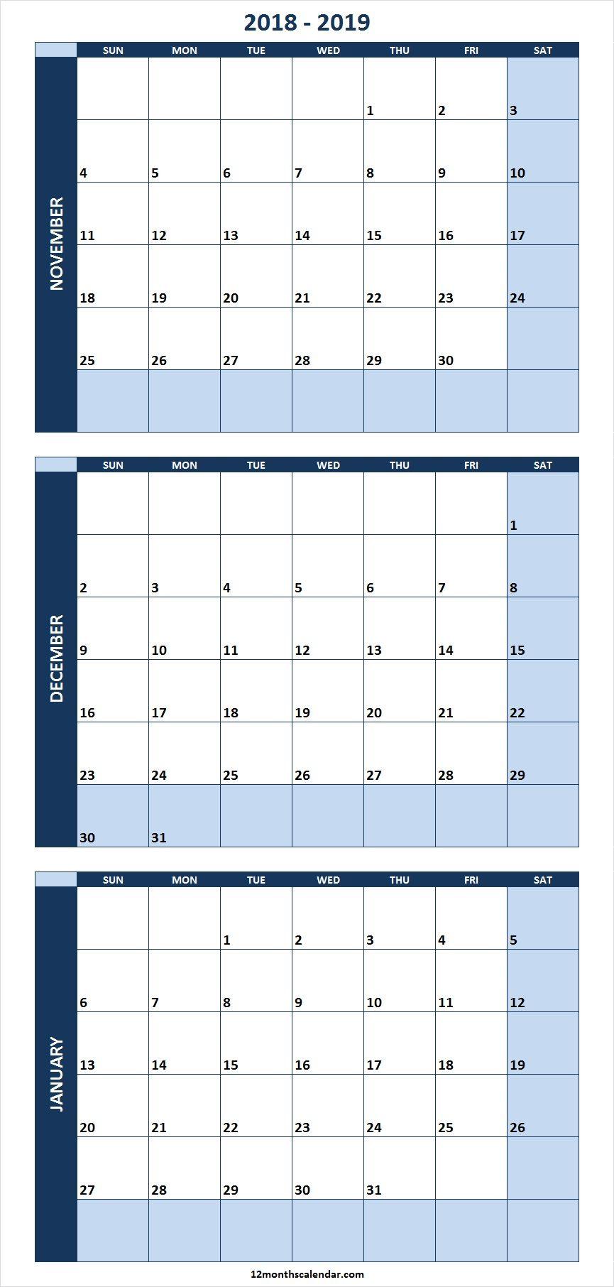 Editable Calendar October November December 2019 November December 2018 January 2019 Calendar Template Excel