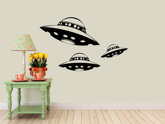 Alien Spaceship Vinyl Wall DECALS Ufo Interior Design Sticker - Vinyl wall decals home party