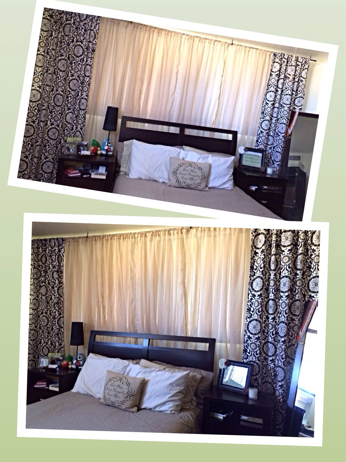 Bed with window behind it  diy curtains behind bed in master to cover wall full of windows