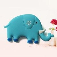 Wish   Sky Blue Elephant Shape Fridge Magnet Refrigerator Sticker Imanes Souvenirs