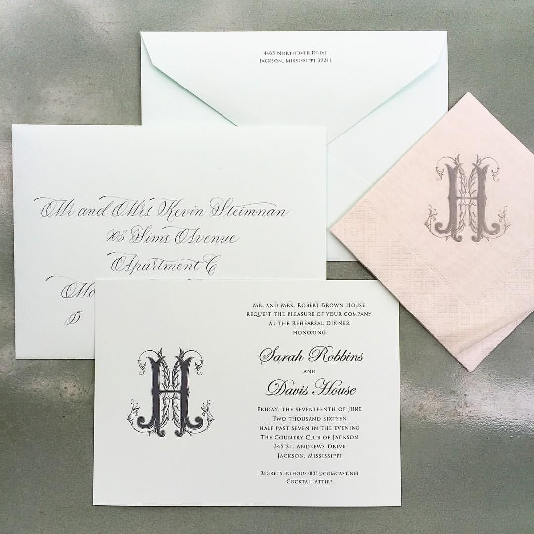 "Fresh Ink Portfolio on Instagram: ""Sarah Robbins and Davis House Rehearsal Dinner Invitations engraved on Crane seaglass card with custom monogram by @jgcarraway and matching napkins"""