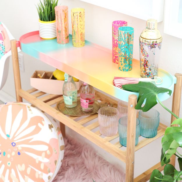 A Kailo Chic Life: DIY It - A Gradient Bar Cart and Frozen Mimosa Popsicles! Learn how to use spray paint to create your own gradient pattern and ikea hack and plant stand into a bar cart perfect for your home decor and parties.