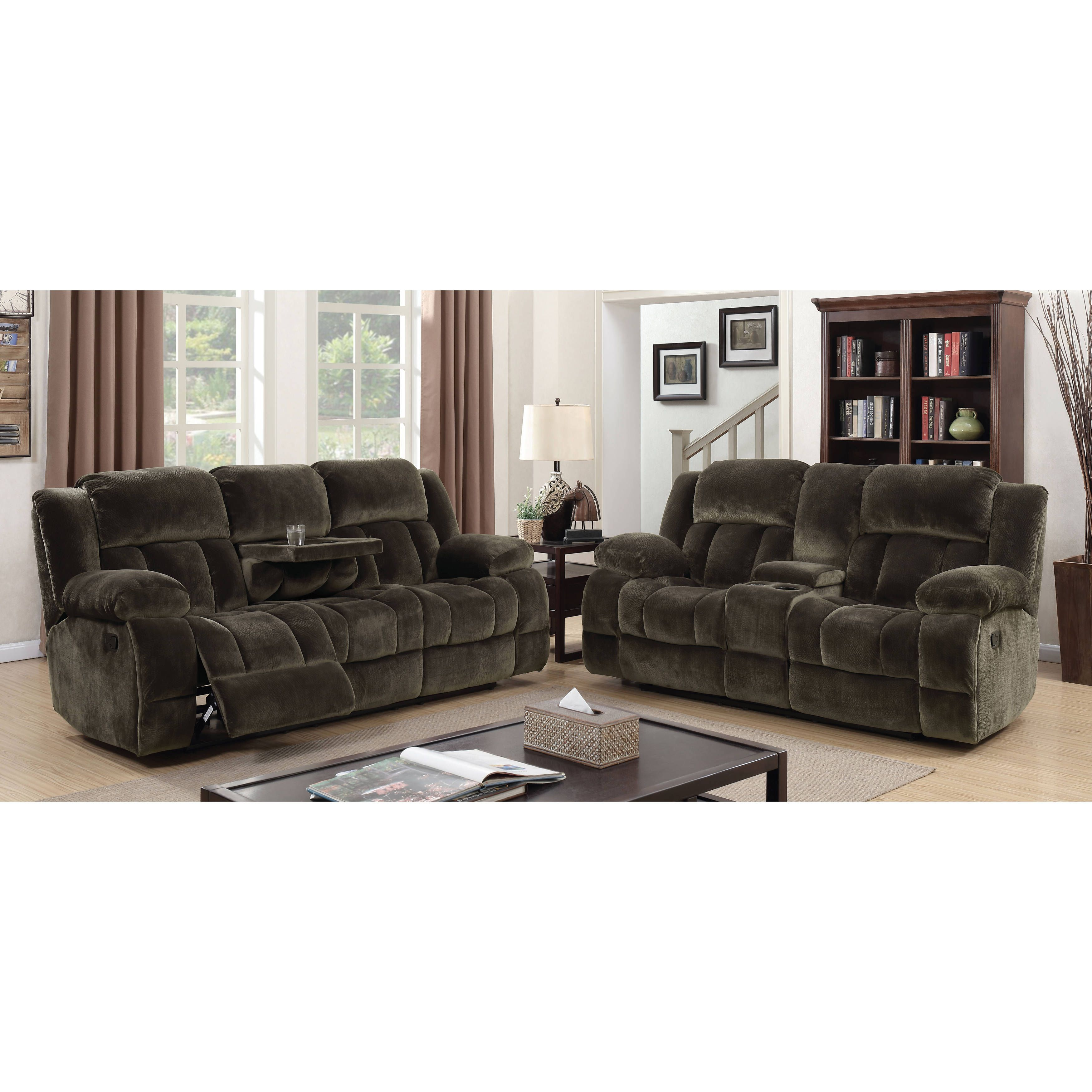 Furniture Of America Malin Traditional 2 Piece Brown Champion Fabric Reclining Sofa Set