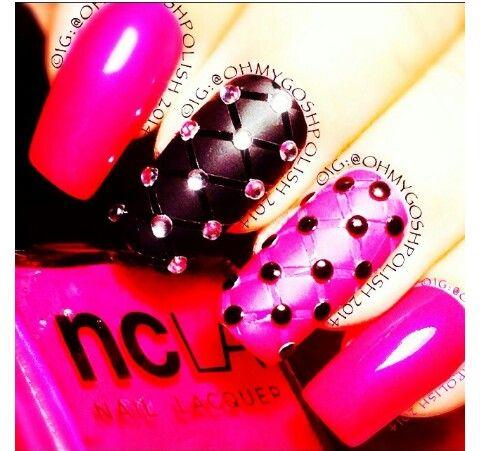 Black & pink, ribbon & gem nail art