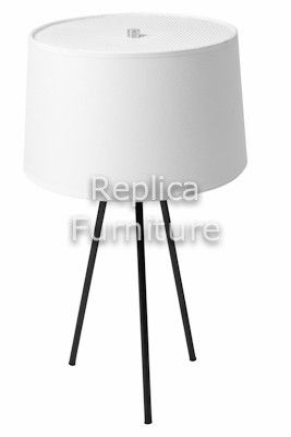 Replica White Tripode Bedside Light -- The soft light that is reflected from the white fabric shade provides a soft glow and makes this lamp an ideal bedside light. The white shade is supported by a powdercoated black steel tripod base.   The lamp takes three bulbs up to 60w each.  --129.0000