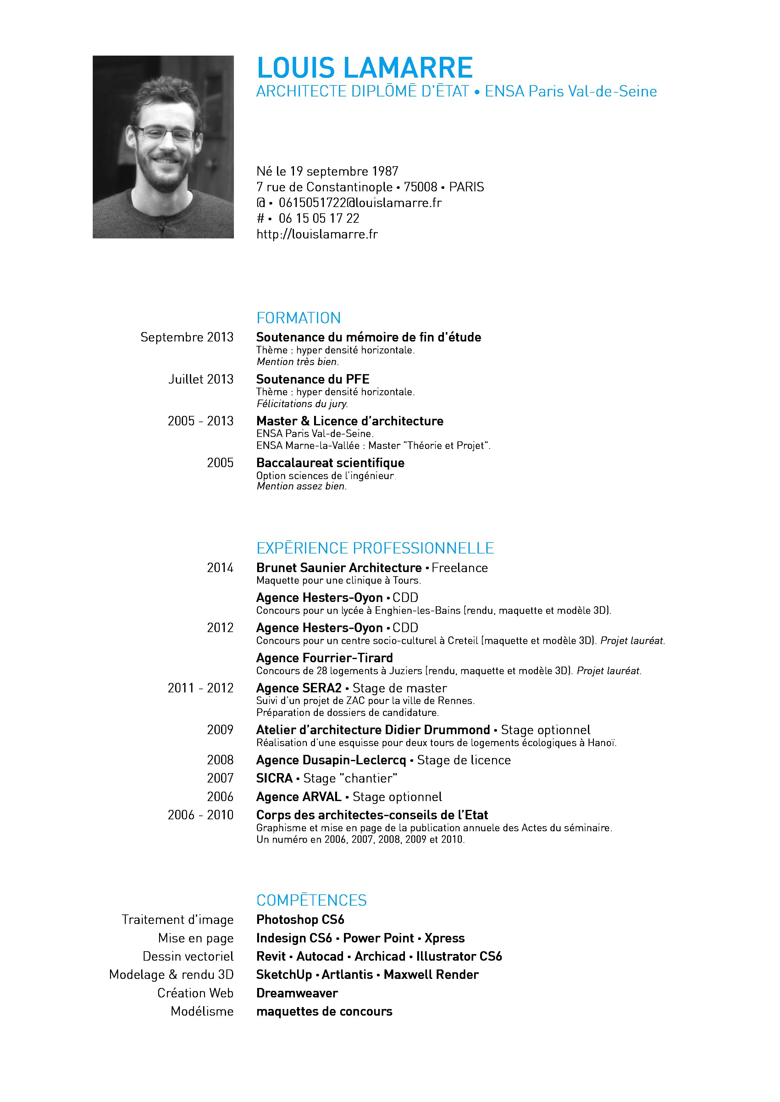 Louis Lamarre Modele Cv Theorie Conseil
