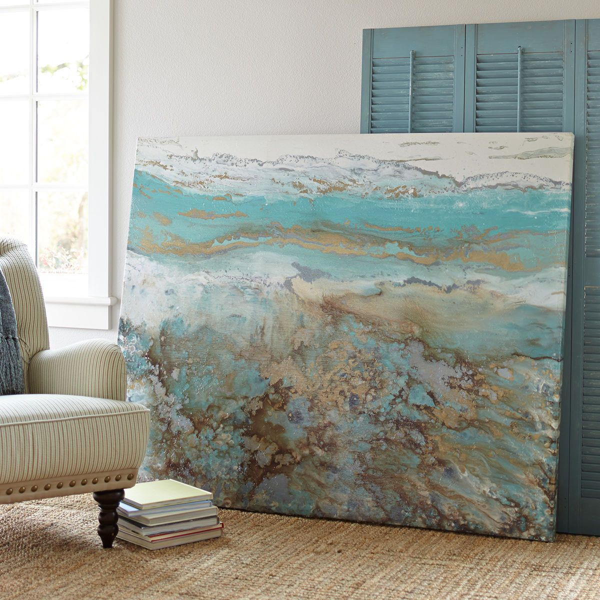 Home Decor Imports: Coastal Air Abstract Wall Art